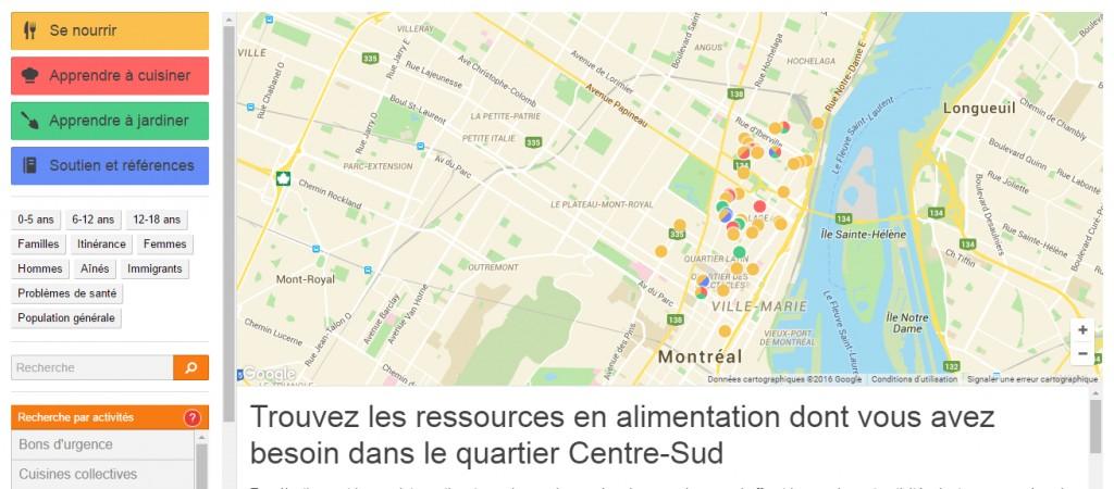 Carte des ressources en alimentation dans le Centre-Sud